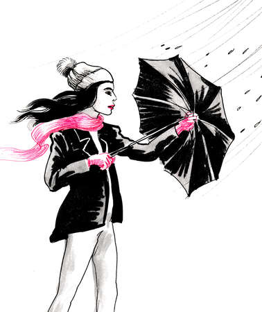Girl with an umbrella in rainy windy weather. Ink and watercolor illustration Фото со стока