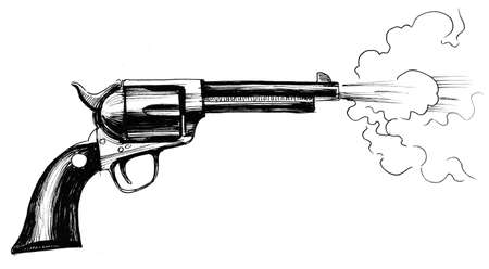 Shooting revolver gun. ink black and white drawing