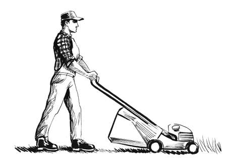 Landscaper worker with lawn mower. Ink black and white illustration Stockfoto