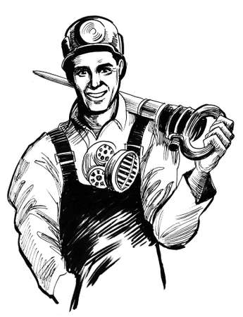 Smiling miner worker. Ink black and white drawing