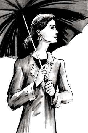 Pretty woman standing under umbrella. Ink and watercolor illustration Stockfoto
