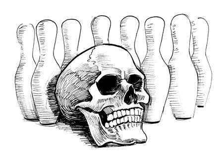 Bowling pins and human skull. Ink black and white illustration
