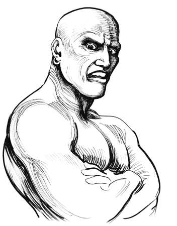 Angry wrestler. Ink black and white illustration