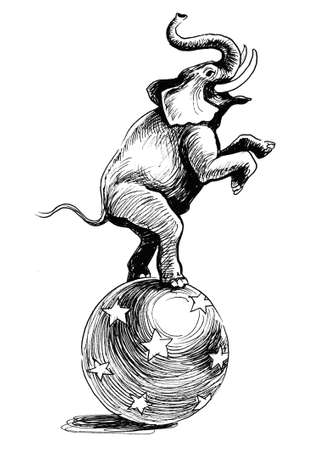 Elephant on the sphere performing in the circus. ink black and white drawing