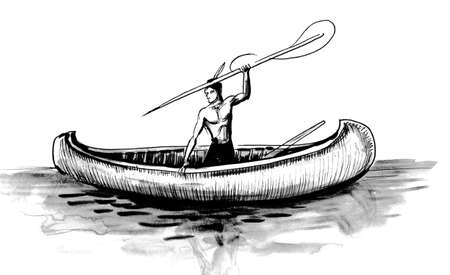 Native American in the canoe with a spear.