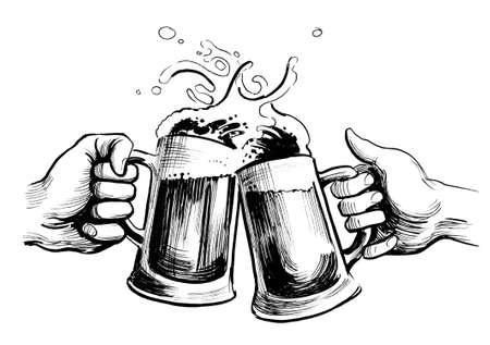 Hands with beer mugs. Ink black and white illustration