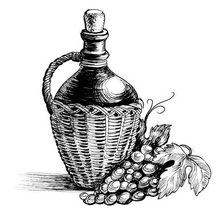 Big wine bottle and grapes. Ink black and white illustration Imagens