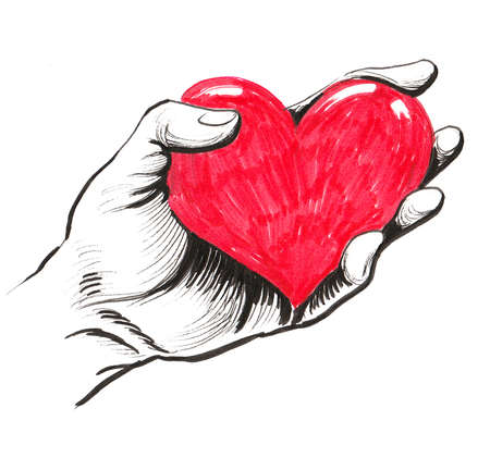 Hand holding a red human heart Stockfoto