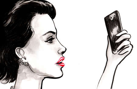 Pretty woman taking selfie with a smartphone