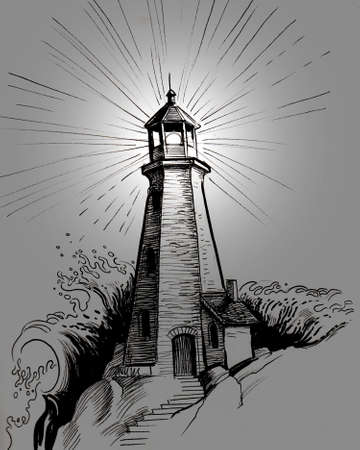 Lighthouse in the darkness. Ink and  illustration Imagens