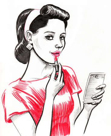 Pretty woman with a lipstick and smartphone