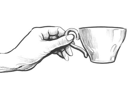 Hand holding a cup. Ink black and white illustration