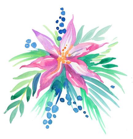 Bouquet of watercolor flowers