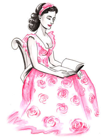 Beautiful young woman in pink dress reading a book. Ink and watercolor illustration Stok Fotoğraf