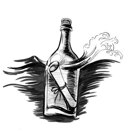 Message in the floating bottle. Ink black and white drawing Reklamní fotografie
