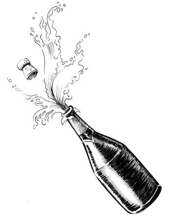 Champagne wine bottle. Ink black and white illustration Stockfoto