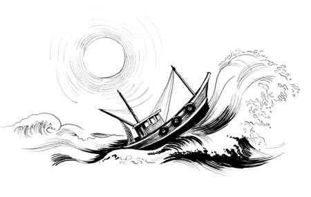 Barco de arrastre en el mar tempestuoso. Dibujo en blanco y negro de tinta