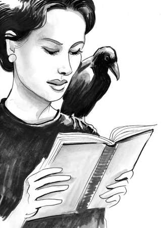 Pretty woman with a raven on her shoulder reading a book