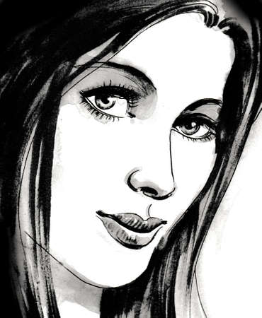 Pretty girl with long black hairs. Ink and watercolor illustration Stockfoto