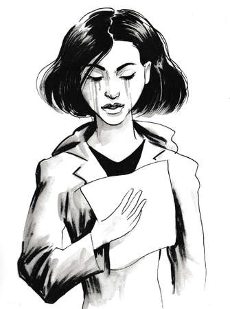 Pretty crying girl with a letter in her hand