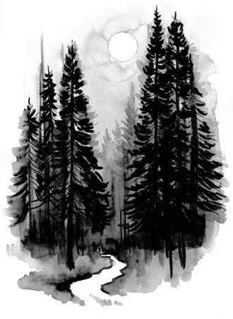 Path in the deep forest. Ink and watercolor illustration Stock Photo