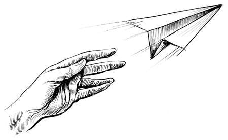 Hand throwing a paper airplane. Ink black and white drawing Stock Photo