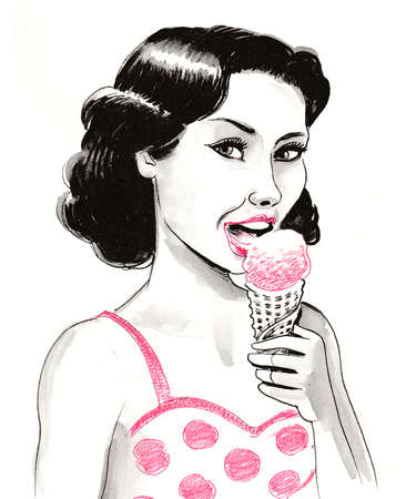 Pretty brunette woman eating an ice cream. Ink and watercolor illustration