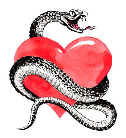 Red human heart and a snake around it 스톡 콘텐츠