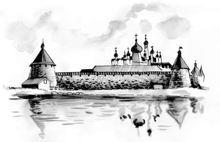 Ancient Russian monastery. Ink and watercolor illustration Stok Fotoğraf