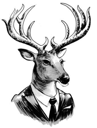 Deer in suit. Ink black and white drawing