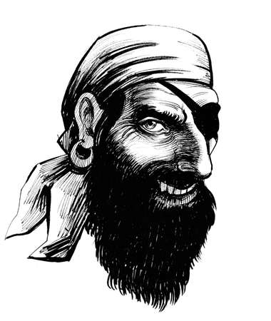 Pirate head. Ink black and white illustration Stock fotó