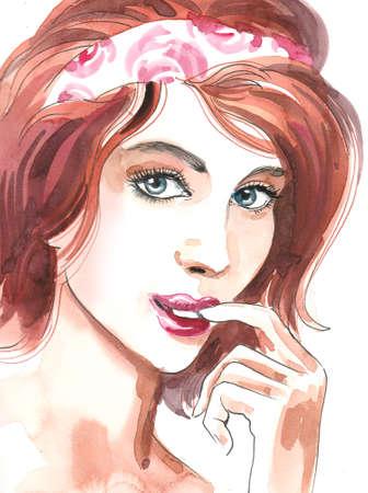 Beautiful woman portrait. Watercolor painting Archivio Fotografico - 105753914