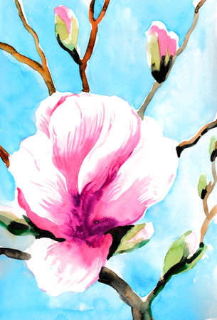 Blossoming tree. Watercolor illustration 스톡 콘텐츠