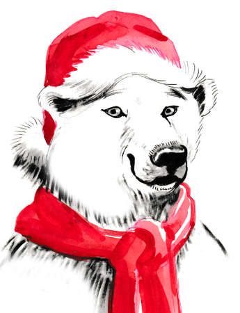 Polar bear in hat and scarf
