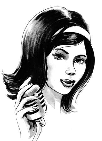 Pretty woman with a retro microphone. Ink and watercolor illustration