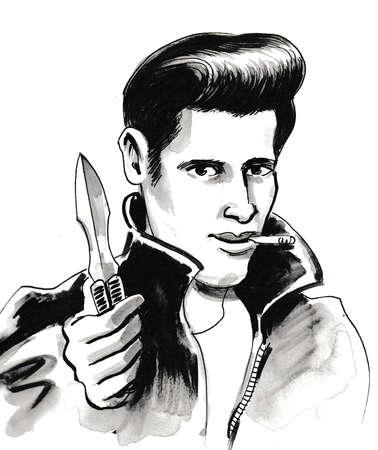 Hooligan con un cuchillo. vector de tinta en blanco y negro Foto de archivo - 106096639