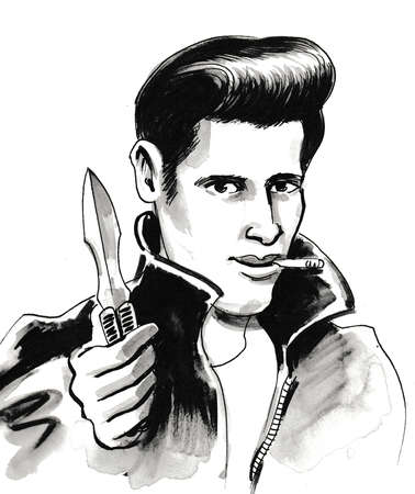 Hooligan with a knife. Ink black and white drawing Stock Photo