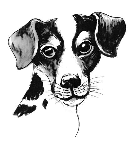 Puppy dog. Ink and watercolor illustration Standard-Bild - 106096642