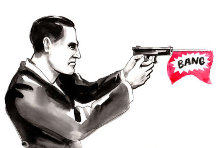 Serious man with a toy gun. Ink and watercolor illustration