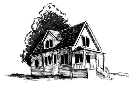Old house and tree. Ink black and white drawing
