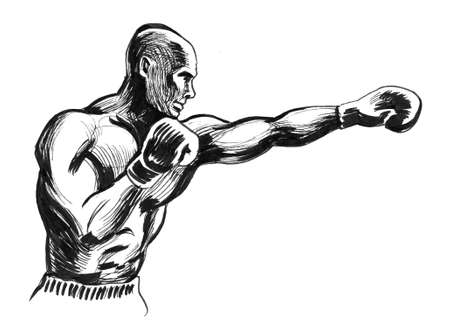 Boxing man. Ink black and white drawing