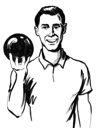 Smiling happy man with a bowling ball. Ink black and white illustration