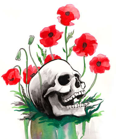 Human skull and red poppies. Ink and  illustration Zdjęcie Seryjne
