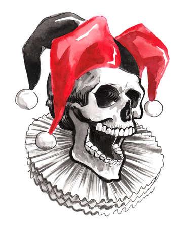 Jester skull in hat. Ink and  illustration. Ink and  illustration