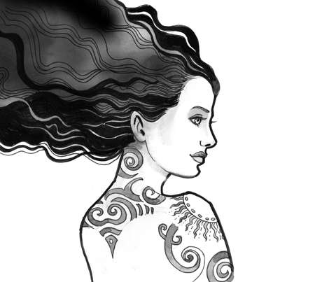 Pretty brunette woman with a long hair and tattoo Stok Fotoğraf