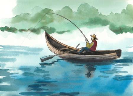 Man in een boot met een hengel. Inkt en illustratie