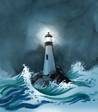 Vuurtoren in een stormachtige zee. Inkt en illustratie