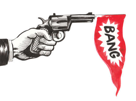 Hand with a revolver gun. Imagens