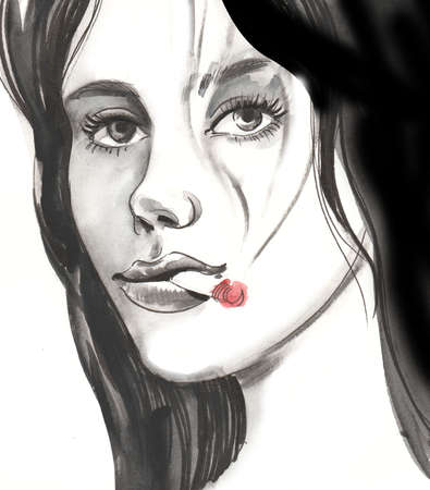 Pretty woman with a marijuana joint. Ink and  illustration Stok Fotoğraf
