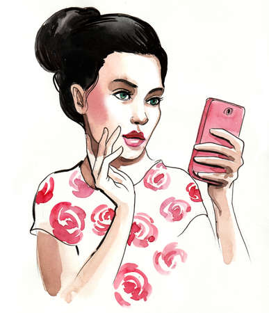 Pretty girl taking selfie with a smartphone. Ink and watercolor illustration Imagens